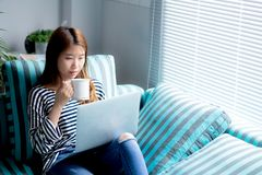 Bello di giovane carta di credito asiatica di uso di seduta della donna del ritratto con il computer portatile ed il caffè della  fotografia stock
