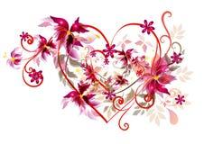 Bello disegno del cuore dei biglietti di S. Valentino Immagine Stock