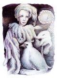 Bello disegno dettagliato di fantasia di una donna del fatato della piuma Fotografia Stock Libera da Diritti