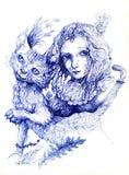 Bello disegno dettagliato di fantasia di una ragazza leggiadramente e di un gatto, o Immagini Stock Libere da Diritti