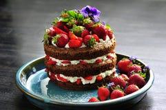 Bello dolce con le fragole e la crema Fotografie Stock