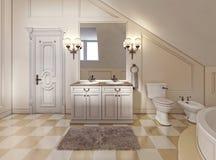 Bello e bagno luminoso nello stile della Provenza con il furni beige Fotografia Stock