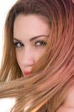 Bello expresion biondo della donna con gli occhi verdi Fotografia Stock