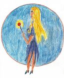 Bello fatato con capelli lunghi - disegno di matita di grafite illustrazione vettoriale
