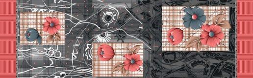 Bello fiore con fondo grigio astratto illustrazione vettoriale