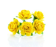Bello fiore di carta giallo isolato su fondo bianco Fotografie Stock Libere da Diritti