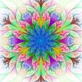 Bello fiore di frattale in blu, nel verde e nel rosso. Immagini Stock