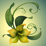 Bello fiore di giallo di fantasia con le foglie verdi Immagini Stock