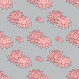 Bello fiore di loto allineato dettagliato Elementi decorativi dell'annata Indiano, modello senza cuciture di motivi indù Immagini Stock Libere da Diritti