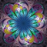 Bello fiore multicolore di frattale illustrazione di stock