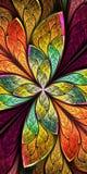 Bello fiore o farfalla di frattale in st della finestra di vetro macchiato Fotografie Stock Libere da Diritti