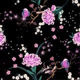 Bello fiore orientale del giardino con la fioritura botanica e bloosom della ciliegia floreale nella progettazione senza cuciture royalty illustrazione gratis