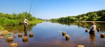 Bello fiume che entra nella campagna un giorno di estate soleggiato Fotografie Stock Libere da Diritti