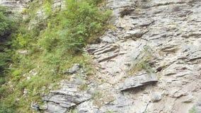 Bello fiume con acqua blu e la scogliera rocciosa nella vista aerea della foresta della montagna video d archivio