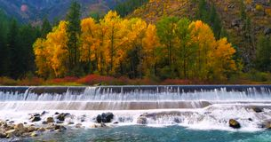 Bello fiume di Wenatchee - di Washington Autumn Nature Scenery immagini stock