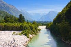 Bello fiume Soca, Bovec, alpi slovene, Slovenia, Europa Immagini Stock