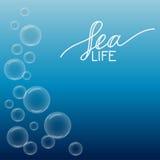 Bello fondo del mare con le bolle e bianco disegnato a mano Royalty Illustrazione gratis
