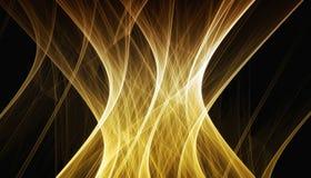 Bello fondo dell'oro delle particelle e delle linee d'ardore con profondità di campo e bokeh 3d l'illustrazione, 3d rende fotografia stock
