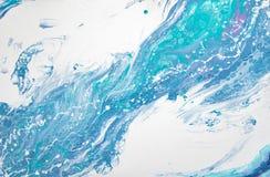Bello fondo di acrilico liquido in blu, in verde ed in bianco su tela immagine stock libera da diritti