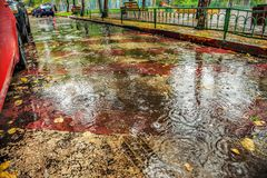 Bello fondo di asfalto bagnato con le gocce di pioggia fotografie stock