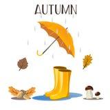 Bello fondo di autunno Foglie cadenti della pioggia Vektor Immagini Stock Libere da Diritti