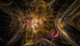 Bello fondo di colore delle particelle e dei cerchi d'ardore con profondità di campo e bokeh 3d l'illustrazione, 3d rende fotografia stock libera da diritti