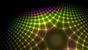 Bello fondo di colore delle particelle e delle linee d'ardore con profondità di campo e bokeh 3d l'illustrazione, 3d rende immagine stock