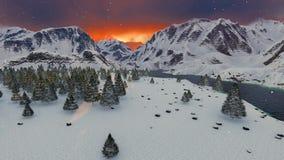 Bello fondo di motivazione di ispirazione del paesaggio della montagna di inverno di tramonto della montagna video d archivio