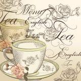 Bello fondo di vettore con la tazza di tè e le rose in annata Fotografie Stock