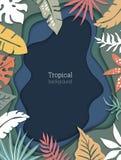 Bello fondo di vettore con le foglie e l'imitazione tropicali di carta tagliata a più strati royalty illustrazione gratis