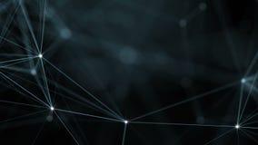 Bello fondo geometrico astratto con le linee, i punti ed i triangoli commoventi Tecnologia dell'estratto di fantasia del plesso illustrazione vettoriale