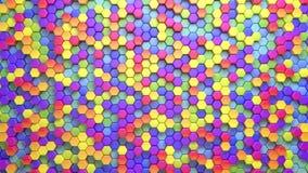 Bello fondo multicolore esagonale astratto, 3d animazione di ciclaggio senza cuciture, 4k cerchi più opzioni in mio video d archivio