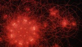 Bello fondo rosso delle particelle e delle linee d'ardore con profondità di campo e bokeh 3d l'illustrazione, 3d rende Immagini Stock