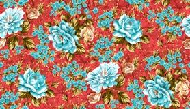Bello fondo rosso senza cuciture del modello di fiore royalty illustrazione gratis