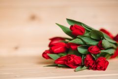 Bello fondo rustico con i tulipani rossi Carta variopinta per il giorno di madri, compleanno, donne ` s giorno 8 marzo internazio Immagine Stock