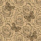 Bello fondo senza cuciture con colore dell'annata delle rose e delle farfalle Linee e colpi di contorno disegnati a mano Immagini Stock Libere da Diritti