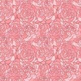 Bello fondo senza cuciture con i fiori rosa Linee e colpi di contorno disegnati a mano Immagini Stock