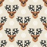 Bello fondo senza cuciture per il Buon Natale o il nuovo anno Cervi su un fondo bianco Fotografia Stock