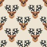 Bello fondo senza cuciture per il Buon Natale o il nuovo anno Cervi su un fondo bianco Modello per carta da imballaggio o tessuto Immagine Stock