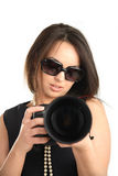 Bello fotografo della ragazza Immagine Stock