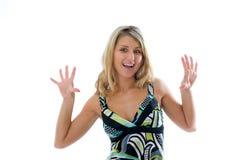 Bello fronte d'inquadramento della giovane donna con le mani. Fotografia Stock