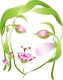 Bello fronte della donna del fiore con gli occhi vicini Fotografia Stock