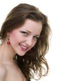 Bello fronte della fine della giovane donna su, isolato su fondo bianco fotografie stock