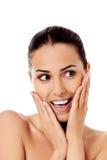 Bello fronte della giovane donna con pelle fresca pulita Immagine Stock