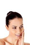 Bello fronte della giovane donna con pelle fresca pulita Fotografia Stock