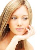 Bello fronte femminile - giovane donna Fotografia Stock
