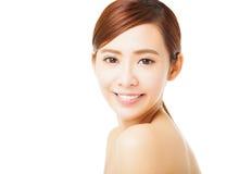 bello fronte sorridente della giovane donna Fotografie Stock