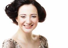 Bello fronte sorridente della giovane donna con pelle pulita sana Fotografie Stock