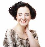 Bello fronte sorridente della giovane donna con pelle pulita sana Fotografia Stock Libera da Diritti