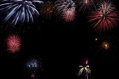 Bello fuoco d'artificio con spazio libero Immagini Stock Libere da Diritti